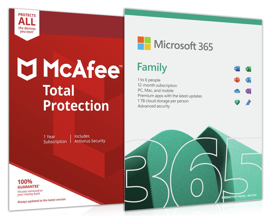 Microsoft 365 Family 6 People and McAfee Unlimited Devices