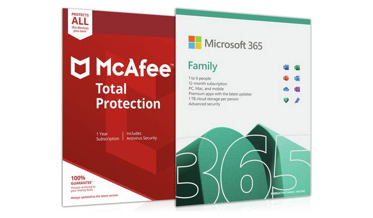 Microsoft 365 Family 6 People and McAfee 6 Devices