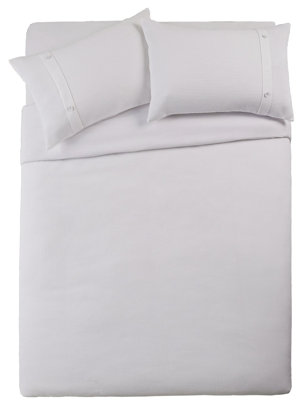 Argos Home White Waffle Cuff Bedding Set - Double