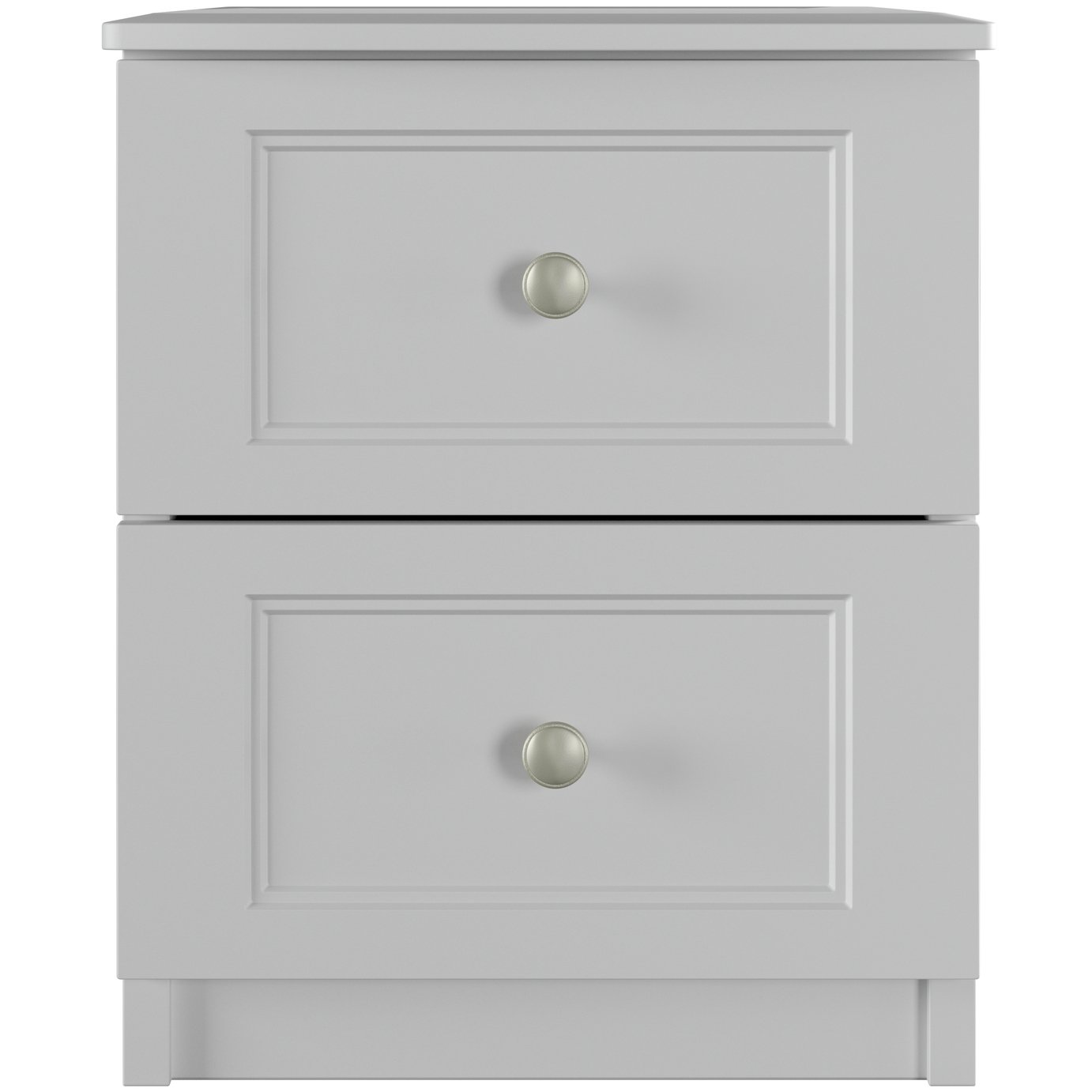 One Call Bexley 2 Drawer Bedside Table - Grey