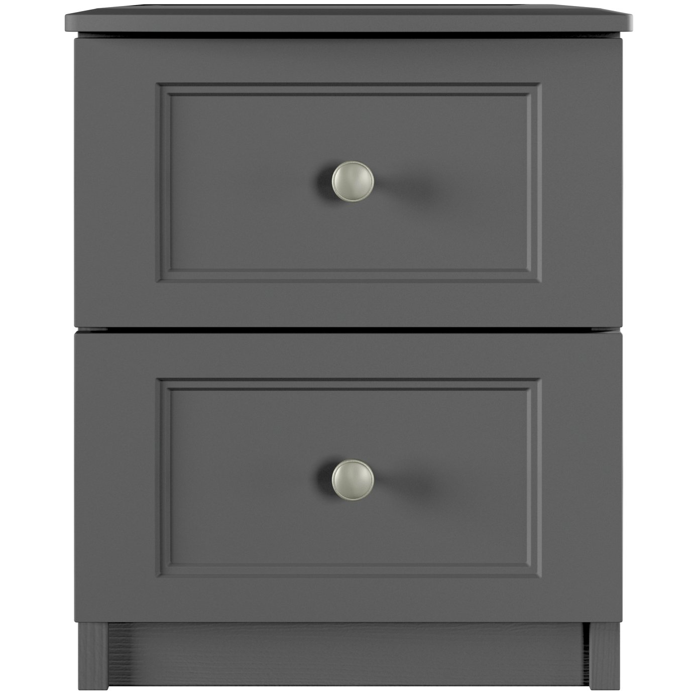 One Call Bexley 2 Drawer Bedside Table - Dark Grey