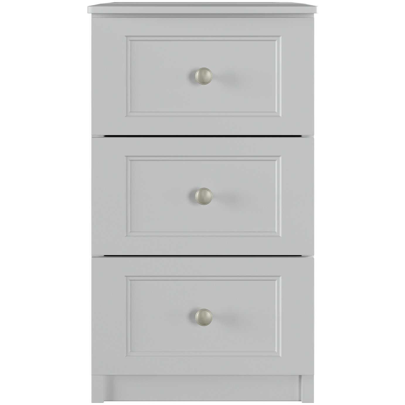 One Call Bexley 3 Drawer Bedside Cabinet - Grey