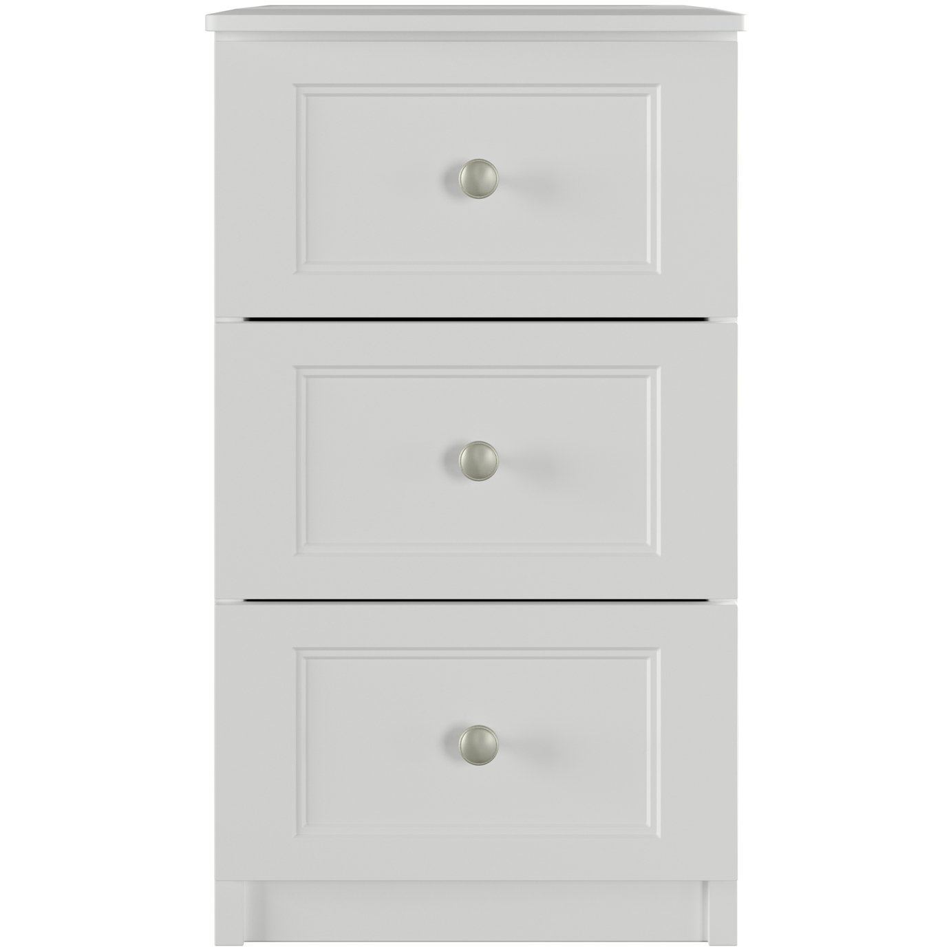 One Call Bexley 3 Drawer Bedside Cabinet - White