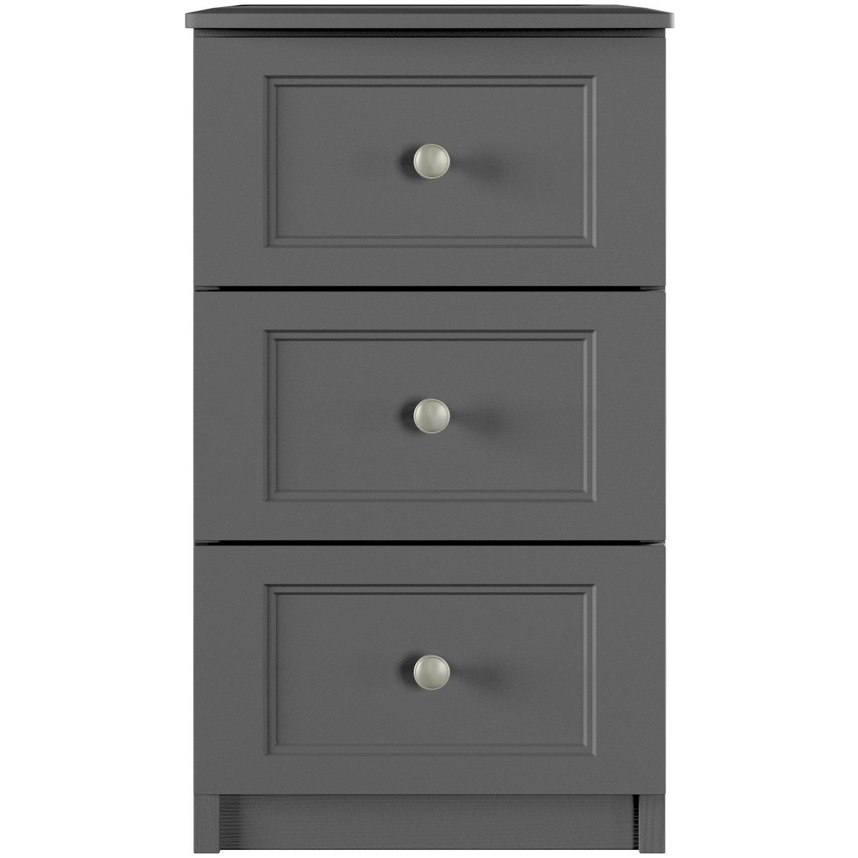 One Call Bexley 3 Drawer Bedside Cabinet - Dark Grey
