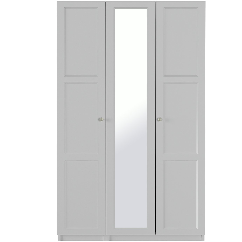 One Call Bexley 3 Door Mirrored Wardrobe - Grey