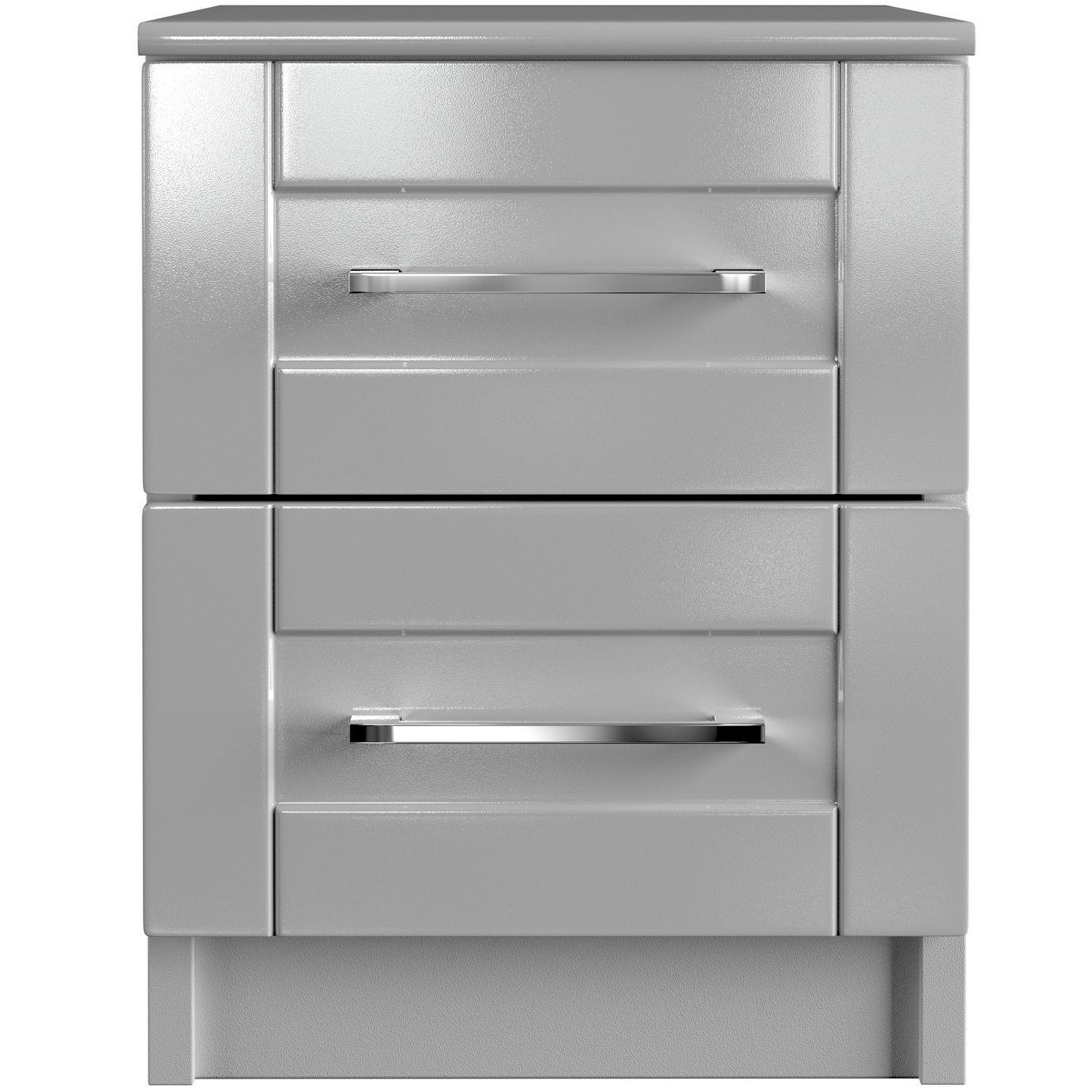 One Call Colby Gloss 2 Drawer Bedside Cabinet - Grey