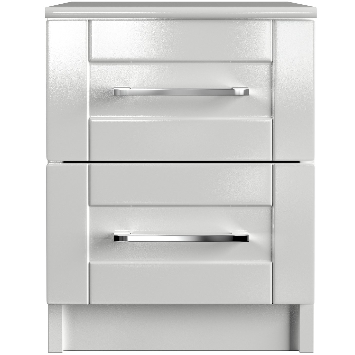 One Call Colby Gloss 2 Drawer Bedside Cabinet - White