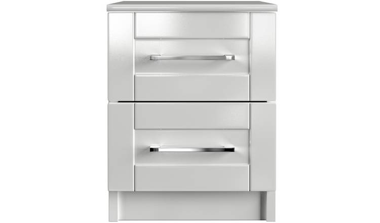 One Call Colby Gloss 2 Drawer Bedside Table - White