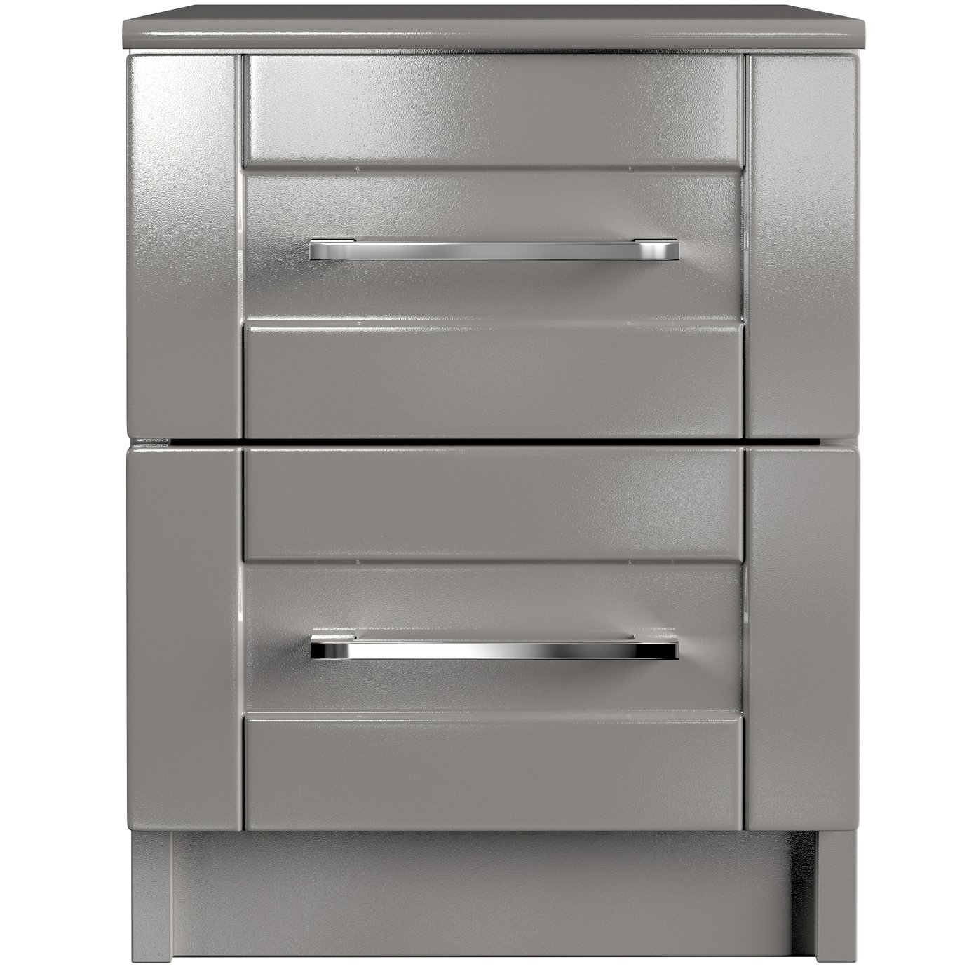 One Call Colby Gloss 2 Drawer Bedside Cabinet - Dark Grey