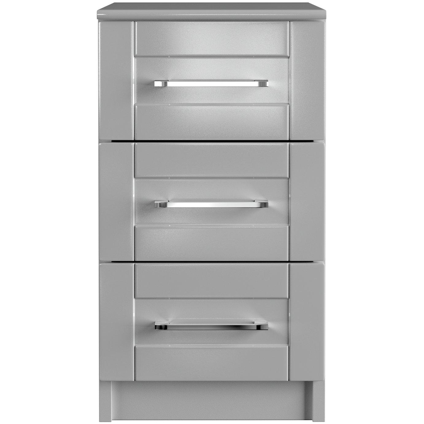 One Call Colby Gloss 3 Drawer Bedside Cabinet - Grey