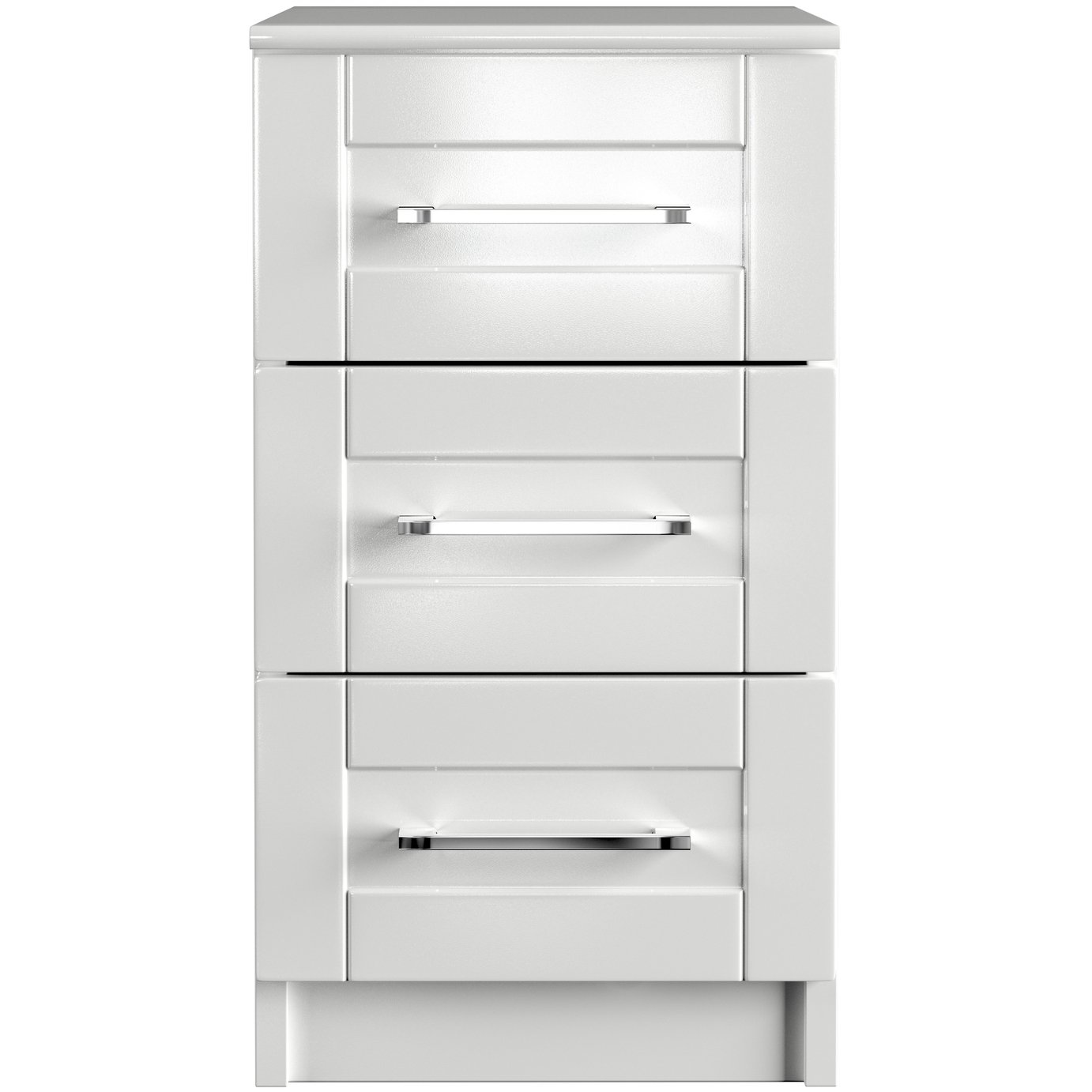 One Call Colby Gloss 3 Drawer Bedside Cabinet - White