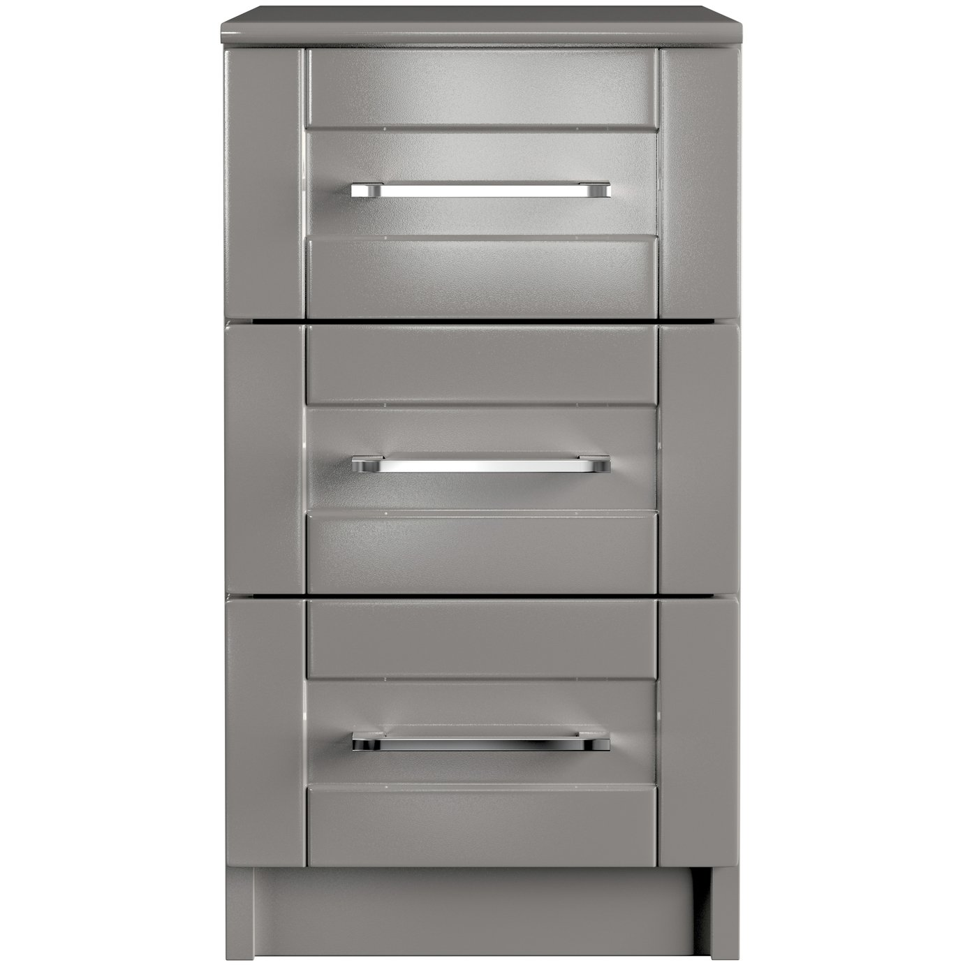 One Call Colby Gloss 3 Drawer Bedside Cabinet - Dark Grey
