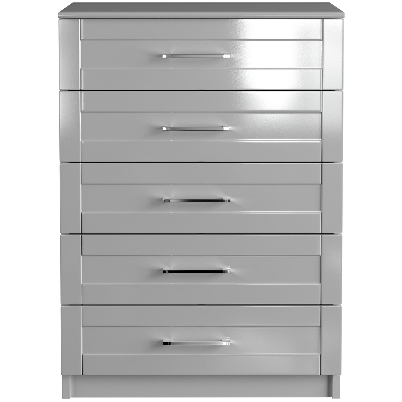 One Call Colby Gloss 5 Drawer Chest of Drawers - Grey