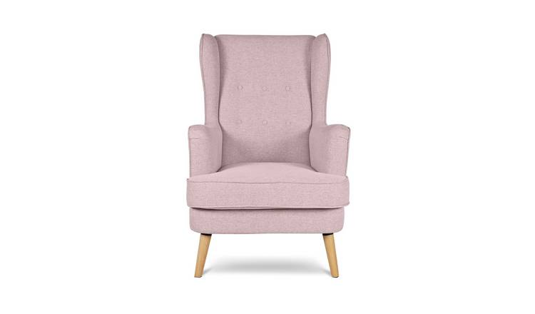 Habitat Callie Fabric Wingback Chair - Blush Pink