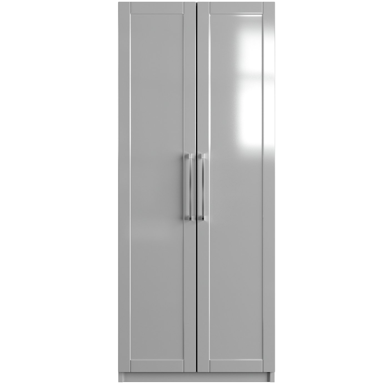One Call Colby Gloss 2 Door Wardrobe - Grey