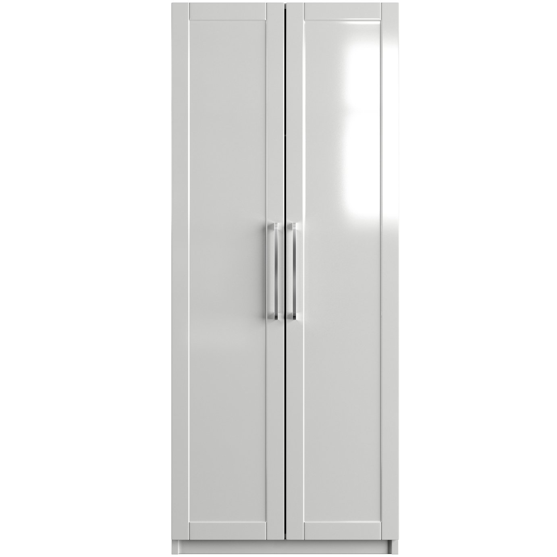 One Call Colby Gloss 2 Door Wardrobe - White