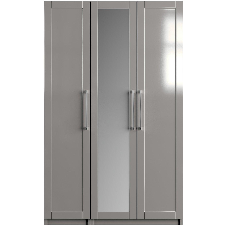 One Call Colby Gloss 3 Door Mirrored Wardrobe - Grey
