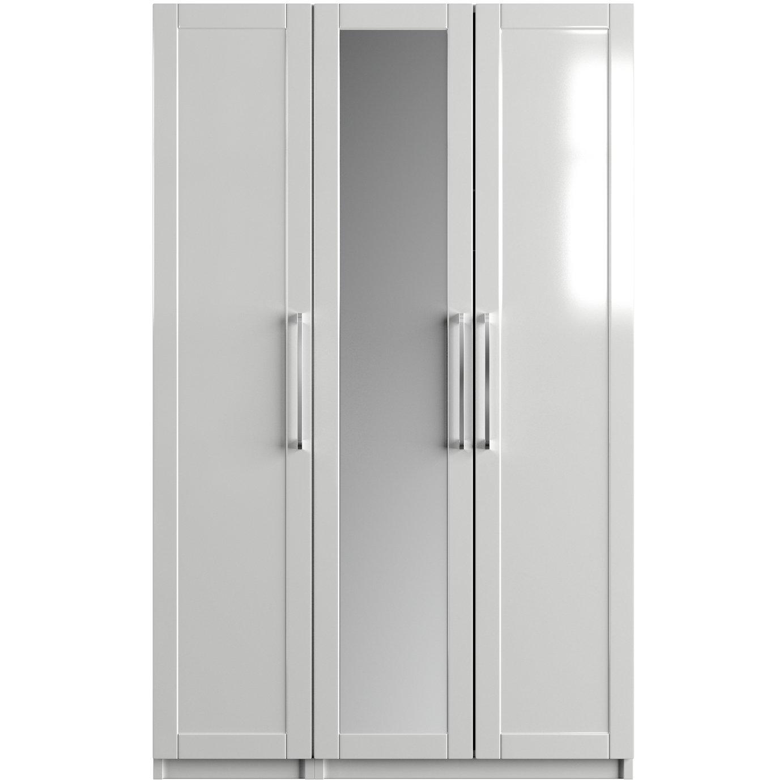 One Call Colby Gloss 3 Door Mirrored Wardrobe - White