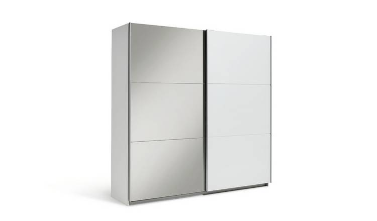Habitat Holsted XL Mirrored Sliding Wardrobe - White