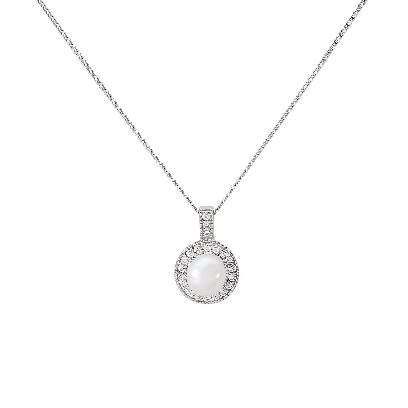 Revere Silver Freshwater Pearl Halo Pendant 18 Inch Necklace