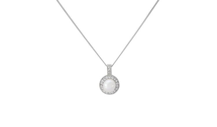 805bcac5e6077 Buy Revere Silver Freshwater Pearl Halo Pendant 18 Inch Necklace | Womens  necklaces | Argos