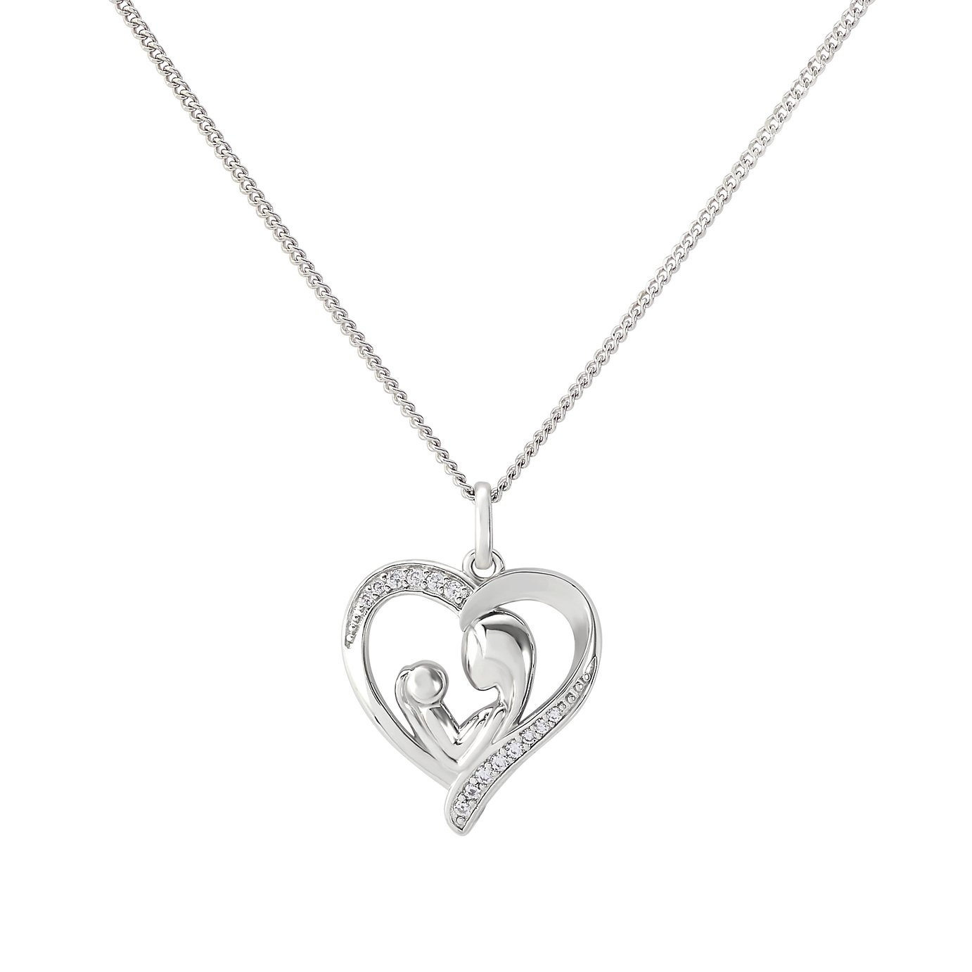 Moon & Back Silver Mum and Child Pendant 18 Inch Necklace