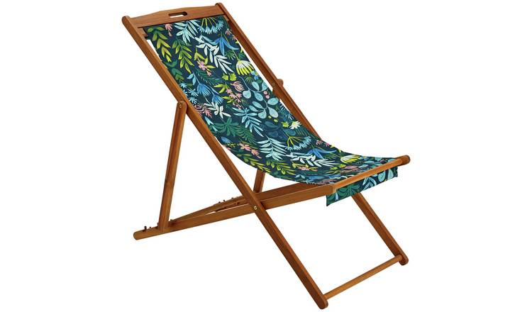 Argos Home Wooden Deck Chair - Rainforest 0