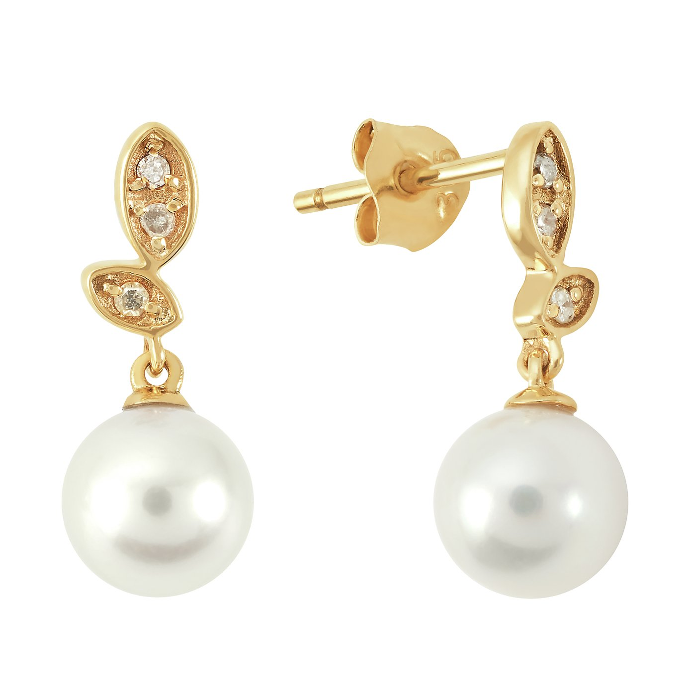 Revere 9ct Gold Cultured Freshwater Pearl & Diamond Earrings