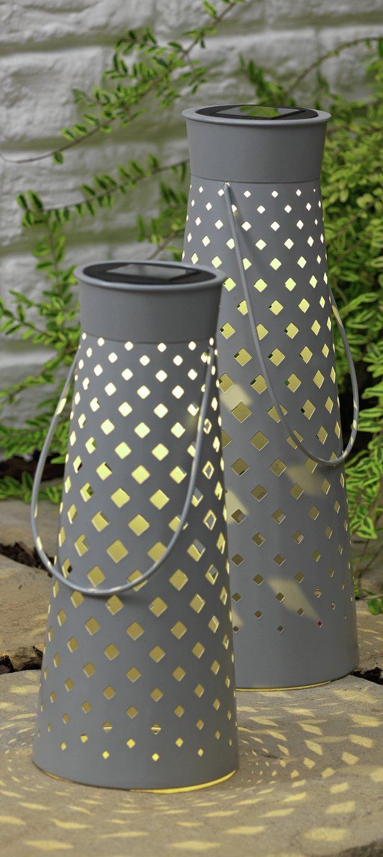 Argos Home Set of 2 Grey Metal Lanterns