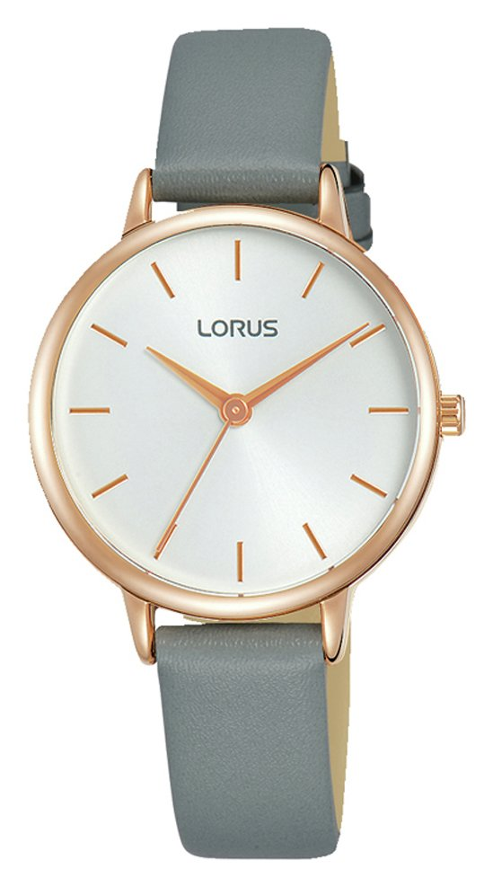 Lorus White Dial Ladies Grey Leather Strap Watch