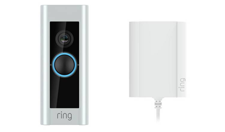 Ring Smart Video Doorbell Pro With Plug In Adaptor - Silver