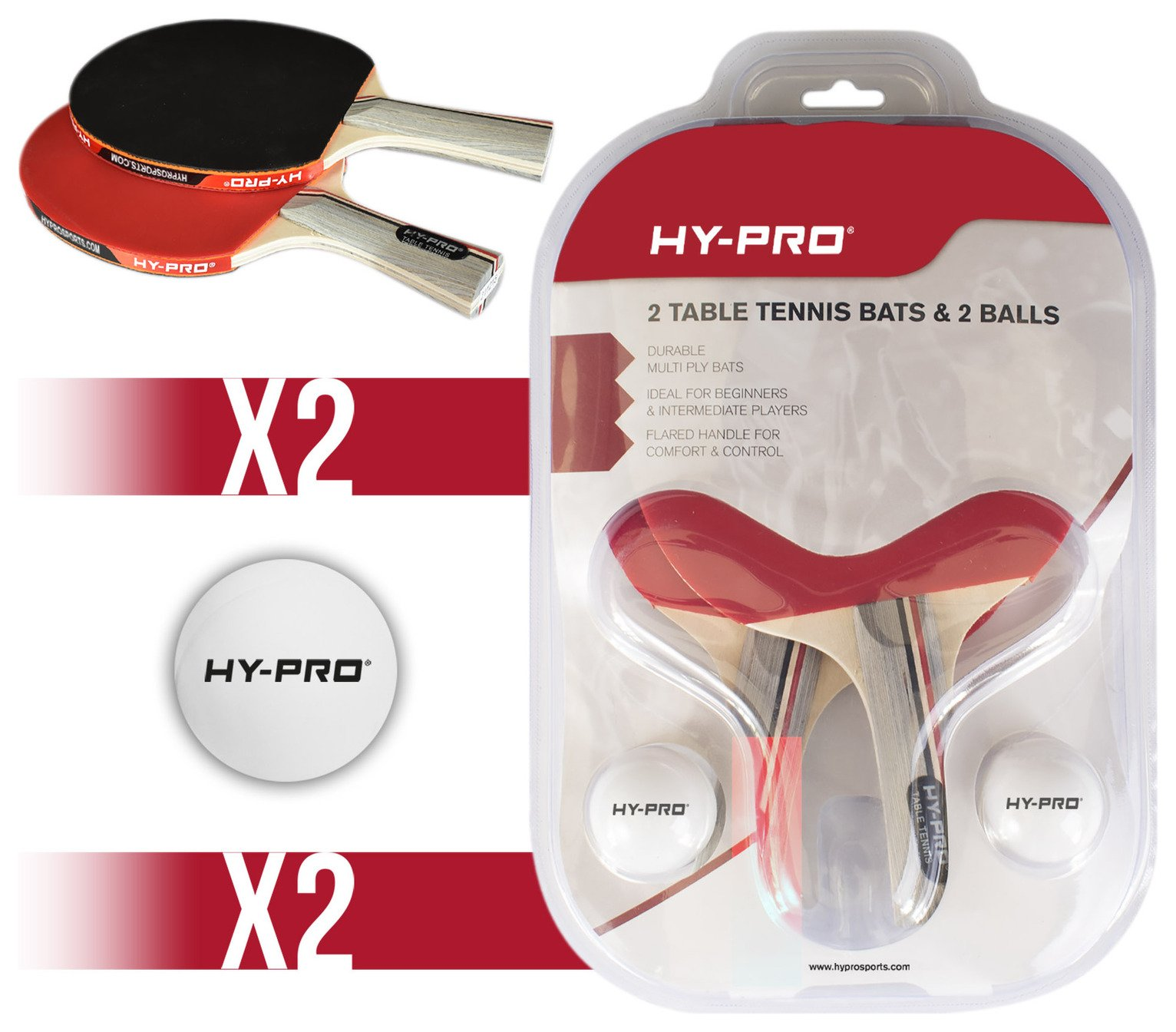 Hy-Pro 2 Bats and 2 Balls Table Tennis Set