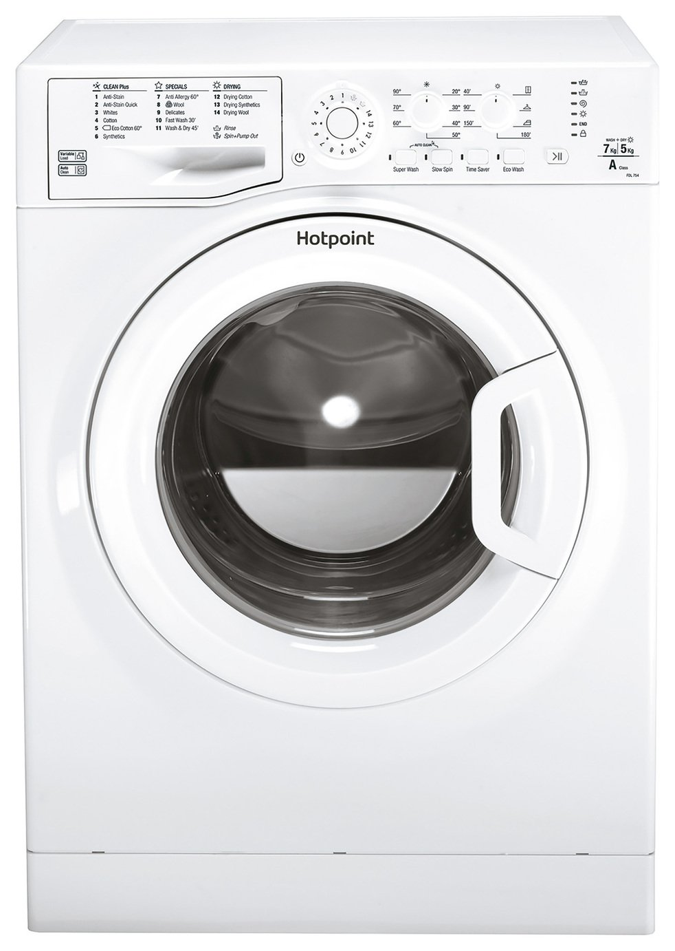 Hotpoint FDL754PUK 7KG / 5KG 1400 Spin Washer Dryer - White