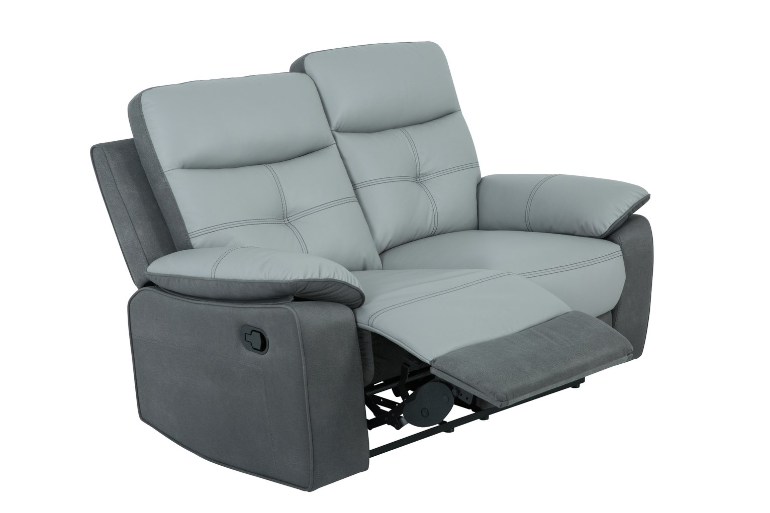 Argos Home Charles 2 Seater Leather Mix Recliner Sofa - Grey