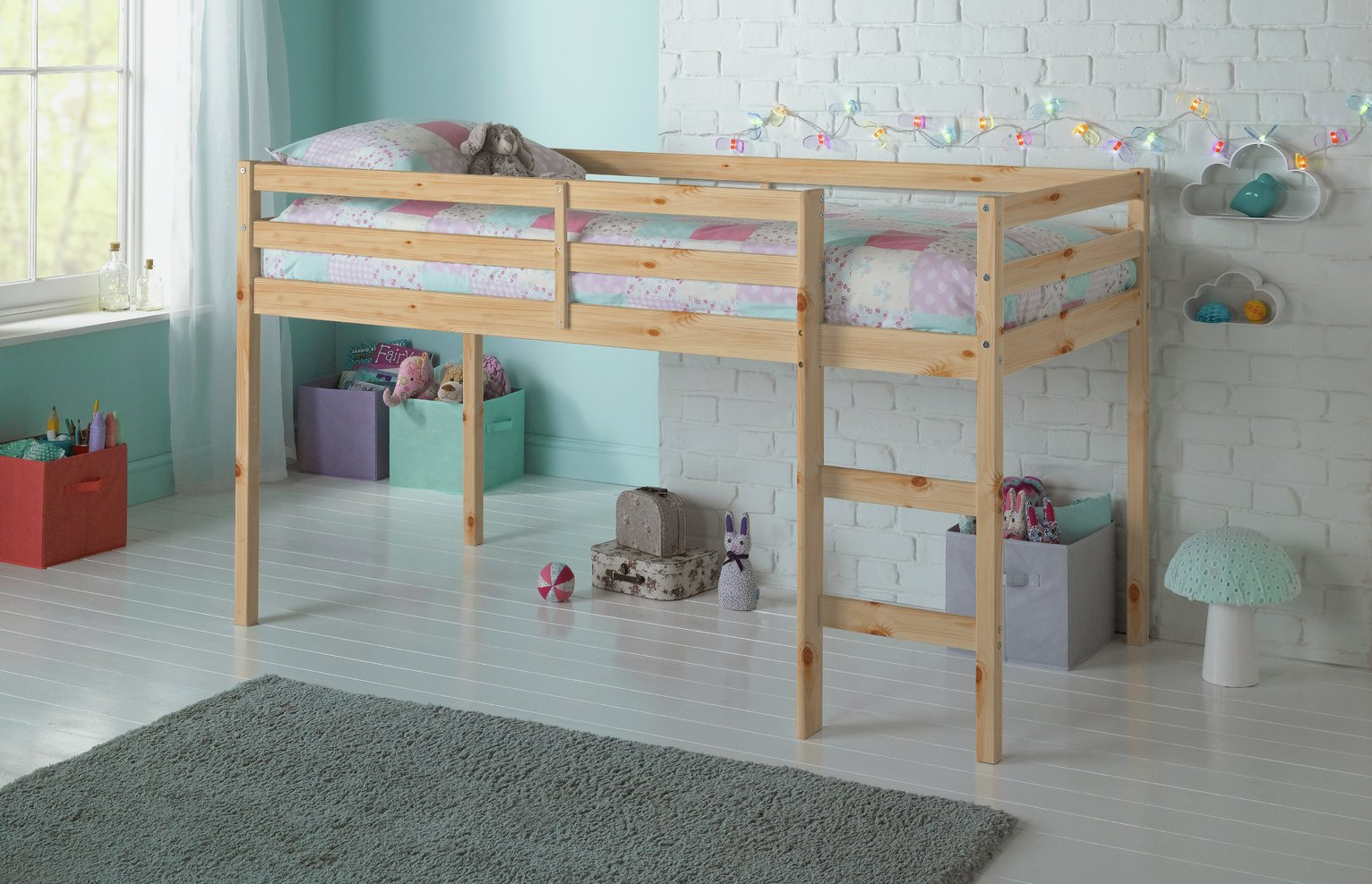 Argos Home Kaycie Pine Mid Sleeper & Kids Mattress