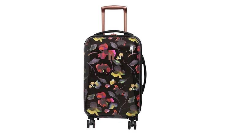 809e00b3e IT Luggage 8 Wheel Black Floral Expandable Cabin Suitcase884/7791