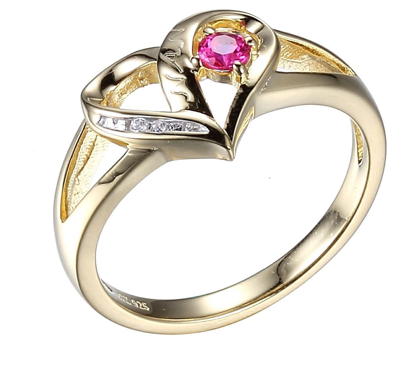 Moon & Back Gold Plated Sterling Silver Heart Shaped Ring