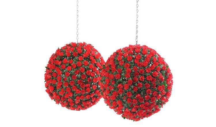 Buy Argos Home Red 30cm Garden Topiary Balls X2