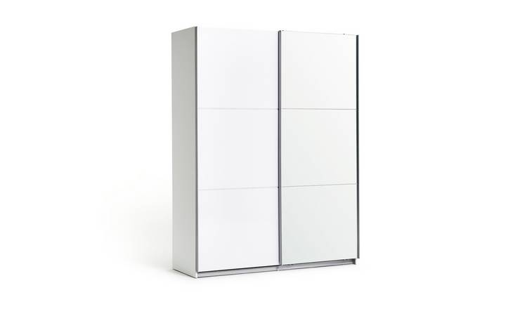 Habitat Holsted Medium Gloss & Mirror Wardrobe - White