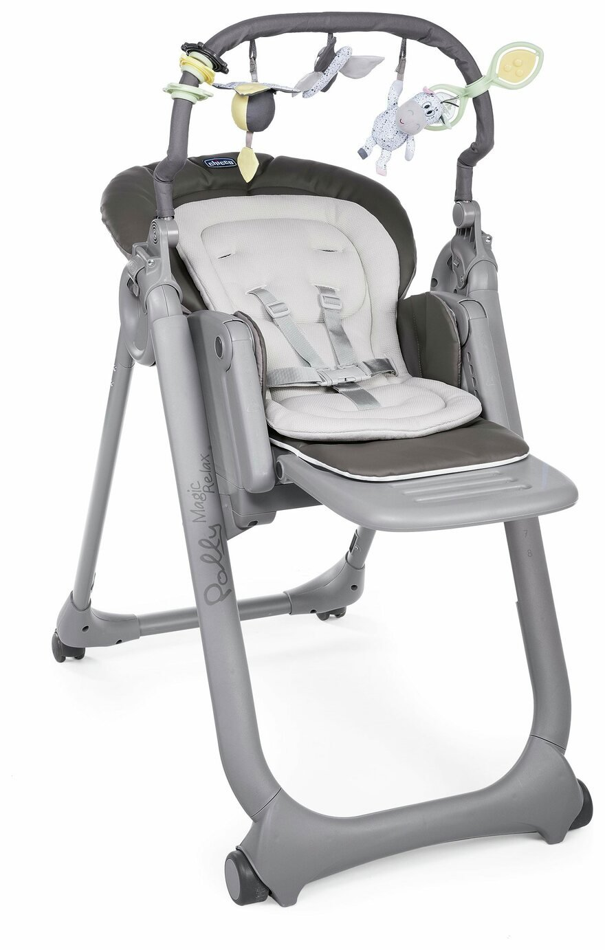 Chicco Polly Magic Relax 4 Wheel Highchair - Graphite