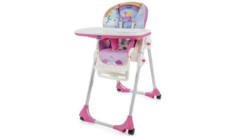 Chicco Polly Easy 4 Wheel Highchair - Unicorn 0