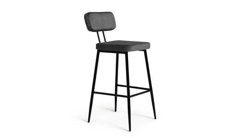 Argos Home Beatrice Velvet Bar Stool - Grey