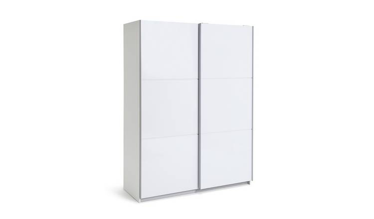 Habitat Holsted Gloss Medium Sliding Wardrobe - White