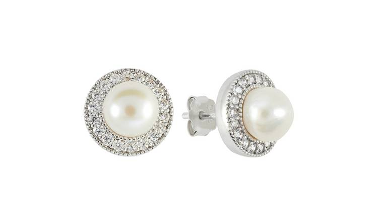 Revere Sterling Silver Freshwater Pearls Halo Stud Earrings