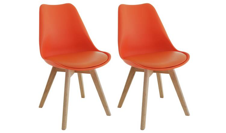 Habitat Jerry Pair of Fabric Dining Chair - Orange
