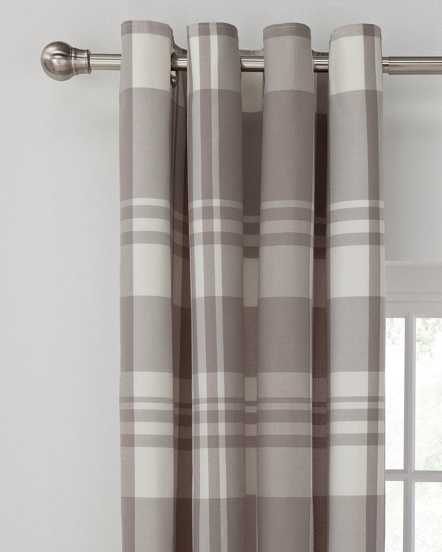 Argos Home Woven Check Eyelet Curtain - 117x137cm - Grey