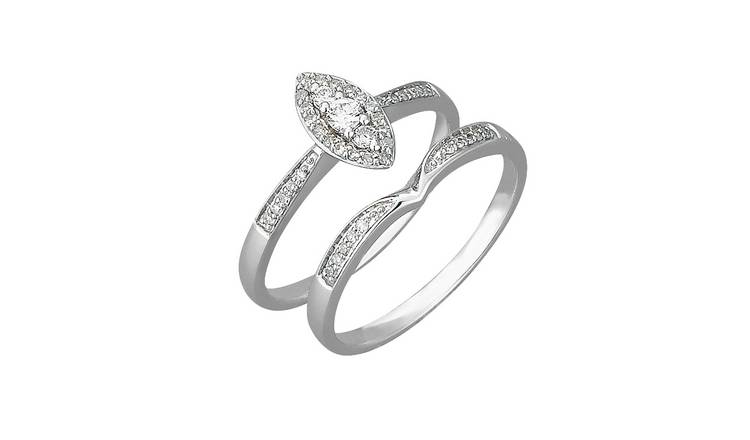 Revere 9ct Gold 0.25ct Diamond Marquise Bridal Ring Set - R