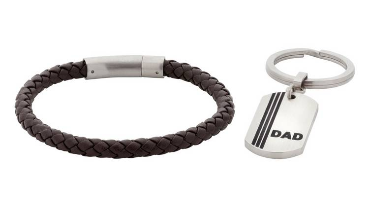 Revere Men's Brown Leather Bracelet & Dad Keyring Set