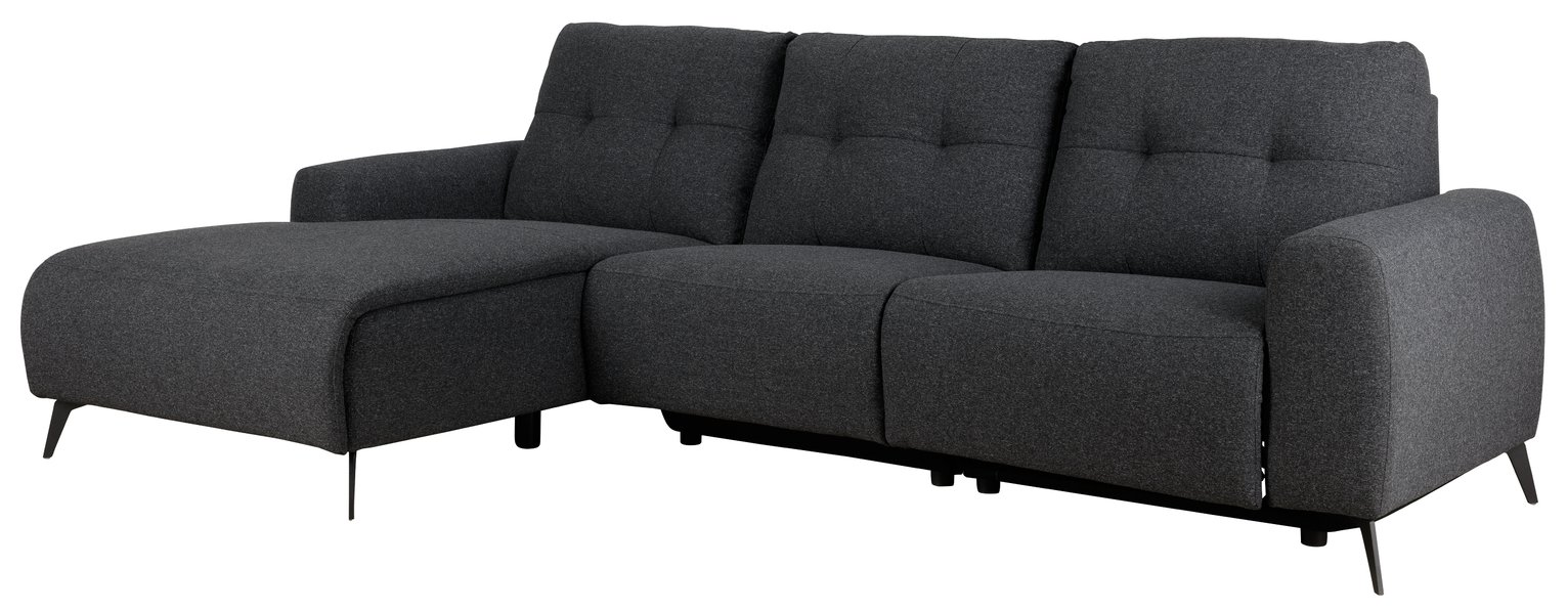 Habitat Ghost Left Corner Fabric Recliner Sofa - Charcoal