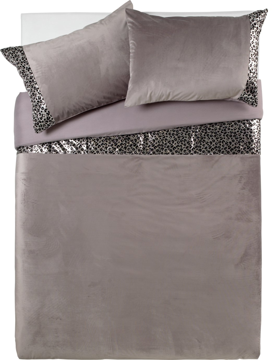 Argos Home Sequin Leopard Print Bedding Set - Double